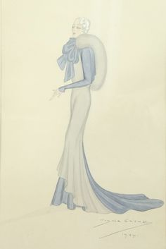A Guy de Gerald fashion sketch for Hoban & Jeanne, 1934. signed and dated, pencil, ink and watercolour, the lady in an elegant blue and grey gown with stole, 52 by 42cm including frame At this time, Guy de Gerald was designer at fashion house 'Hoban & Jeanne', located at 4 Brook St, Mayfair. He went onto become designer at Redfern in 1936..