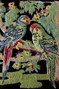 Vintage Home - Stunning Art Deco Parrots Plushwork Embroidery: www.vintage-home.co.uk