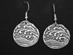 Sterling Silber Wave Ohrringe in Sterling Silber von peteconder
