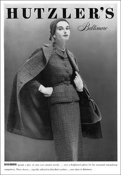 Anne St. Marie in suit and coat by Davidow for Hutzler's, Vogue 1950s