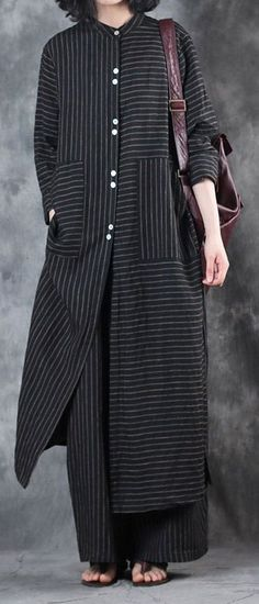 2018 women black stand collar linen long shirt and casual w. 2018 women black stand collar linen long shirt and casual wide leg pants Tese Muslim Fashion, Hijab Fashion, Fashion Outfits, Womens Fashion, Fashion Trends, Fashion Tips, Trendy Dresses, Casual Dresses, Linen Dresses