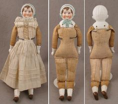 """12.5"""" German Hertwig Bisque Doll w/ Molded Hat & Brown Hair c. Early 1900s"""