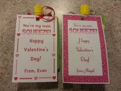 My kid's valentines for preschool (applesauce pouch underneath)-    Perfect for toddlers & complies with the school's food restrictions :)