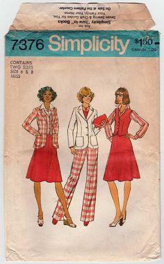Vintage 1970's Uncut Simplicity 7376 Women's Suit, Skirt, Jacket, Vest, Pants, Pantsuit Sewing Pattern