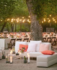 work with your surroundings in an outside space. use the environment as backdrop for casual seating areas or to string lights.