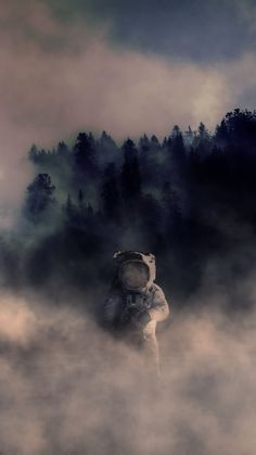 Forest Astronaut iPhone Wallpaper Erasable (Vinyl) Wallpapers: It can be the most famous background Space Artwork, Wallpaper Space, Screen Wallpaper, Galaxy Wallpaper, Cool Wallpaper, Wallpaper Backgrounds, Space Illustration, Astronauts In Space, Photomontage