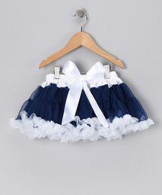 Love this Navy & White Bow Pettiskirt - Infant, Toddler & Girls by Twirls & Curls on #zulily! #zulilyfinds