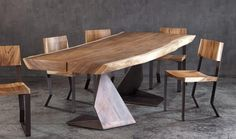 Italy Dining Table Set, View wood slab furniture, J Product . Live Edge Tisch, Live Edge Table, Cheap Furniture, Wood Furniture, Furniture Design, Dining Room Sets, Dining Table Chairs, Italy Table, Small Kitchen Tables