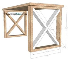 Free plans to build this X Leg Desk from Sawdust Girl----would be good in basement.