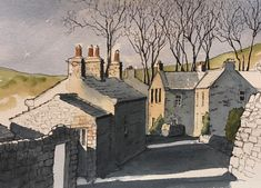 Another demo piece, showing how effective strong shadows can be -this is Gunnerside in Swaledale Landscape Sketch, Landscape Drawings, Watercolor Landscape, Landscape Art, Pen And Watercolor, Watercolor Paintings, Watercolors, John Harrison, Art Aquarelle