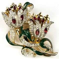 Coro Gold Pave and Enamel Double Flower Duette
