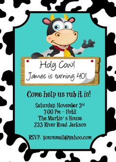 Birthday Invitation | Holy Cow | Over the Hill | 40 | 50 | Birthday | Cow Birthday | Customizable to Your Event by PerfectedbyGrace on Etsy