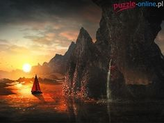 Skały, Żaglówka, Fantasy, Zachód słońca, Łódka