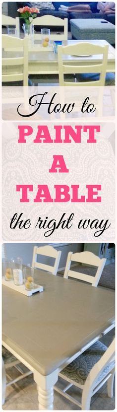 How to prep, paint and protect a dining table and chairs. How to reupholster chairs. Easy beginner DIY project.