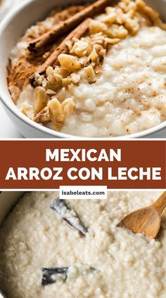 Arroz con Leche (or Mexican rice pudding) is a comforting and simple no-fuss Mexican dessert that's guaranteed to satisfy any sweet tooth. This recipe can be served hot or cold and is made with only 6 ingredients! #arrozconleche Sweet Desserts, Easy Desserts, Delicious Desserts, Dessert Recipes, Yummy Food, Yummy Treats, Sweet Treats, Mexican Cooking, Mexican Food Recipes