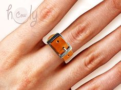 Handmade Adjustable Leather Ring Ring Leather di HolyCowproducts
