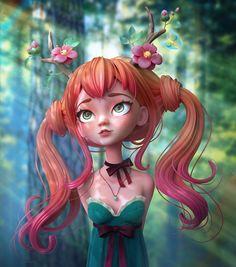 Druid Girl with deer antlers is my own character. 3d Model Character, Character Modeling, Character Art, 3d Modeling, Zbrush, Girl Cartoon, Cartoon Art, Anime Comics, Deer Girl