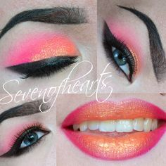 This look is definitely night out ready. It features neon colored eye shadow shades and a cateye you won't miss. See the products used to create this eye makeup.