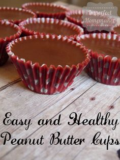 Easy and healthy peanut butter cups - change the sweetener to stevia/truvia and use homemade peanut butter. Homemade Peanut Butter Cups, Healthy Peanut Butter, Peanut Butter Recipes, Candy Recipes, Real Food Recipes, Snack Recipes, Dessert Recipes, Cooking Recipes, Delicious Desserts