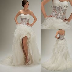 The best Luxy DecoraitionElegant Sweetheart Neckline Sleeveless A-line Organza Ruffles Crystal high low wedding dress short fron(China (Mainland))