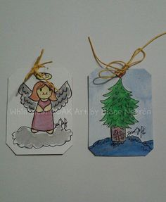 Set of 2 original tags Christmas gift tags by WhimsicalOOAKArt