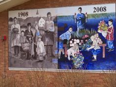 A mural on the outside wall of Richfield Community Center celebrating Richfield, MN's 100th anniversary.