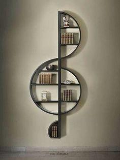 A treble clef bookshelf!