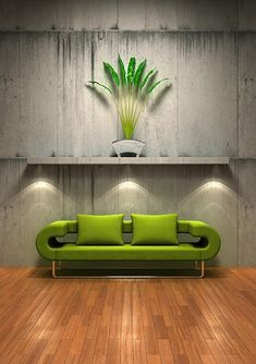 green sofa with the old wall picture