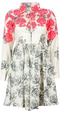 Rose print muslin frock dress by MASABA. Shop at http://www.perniaspopupshop.com/whats-new/masaba-79