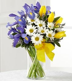 """A colorful presentation of spring's most majestic hues, this sunlit bouquet of blue iris, yellow tulips and white traditional daises will bring cheerful elegance to your special recipient. Accented by lush greens and arranged in a clear glass vase tied with a yellow taffeta ribbon. Bouquet includes 10 stems. Approximately 15""""H x 11""""W"""