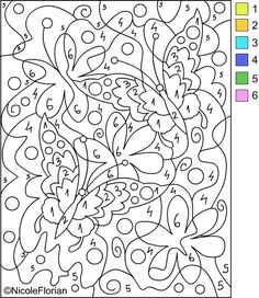 Free Coloring Pages: COLOR BY NUMBER * Coloring pages  Good visual motor and perceptual skills builder.  Increases sustained attention and focus.  Visual scanning skills.: