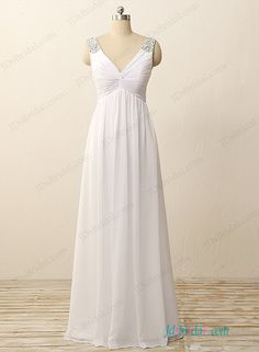 Simple deep v neck empire a line chiffon wedding dress