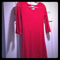 Red crochet styled dress This red crochet styled dress will be great for any occasion. Where it out on the town or to an affair. Your are sure to stun everyone. Dresses Mini