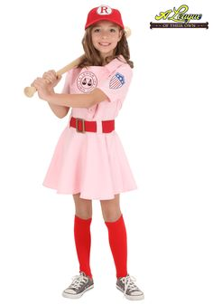 Whether she's trying to get signed by the big team, or trying to start a team of her own, she'll look as tough as Dottie was out on the diamond in the hit film A League of Their Own. Pair of Socks. Baseball Halloween Costume, Tween Halloween Costumes, Costumes For Teens, Halloween Kids, Halloween 2016, Baseball Girl Costume, Baseball Party, Sister Costumes, Boy Costumes