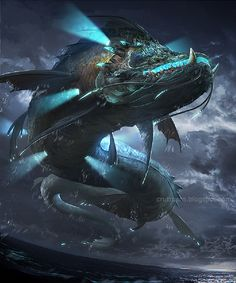 Amazing Fantasy Illustrations by Rudy Siswanto aka Crutz Humanoid Creatures, Weird Creatures, Magical Creatures, Fantasy Creatures, Ocean Monsters, Cool Monsters, Fantasy Monster, Monster Art, Fantasy Dragon
