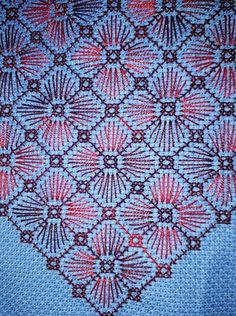 Same stitch as the red on black, but easier to see the stitches. Types Of Embroidery, Cross Stitch Embroidery, Hand Embroidery, Cross Stitch Patterns, Needlepoint Stitches, Needlework, Blackwork, Bargello, Cross Stitch Flowers