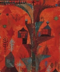 Paul Klee (1879-1940), Der Häuserbaum (The Tree of Houses), 1918 (83). Watercolour, gouache and India ink on chalk-primed gauze on wove papers, mounted on cardboard. Composition: 21.9cm H x 18.4cm W. (Norton Simon Museum, The Blue Four Galka Scheyer Collection ) (Image © Norton Simon Museum)