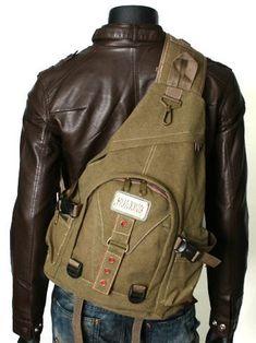 Men's Rugged Single-shoulder Crossbody Canvas Sling Pack - Khaki Tan $44.99