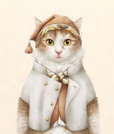Pinzellades al món: gats Pet Costumes, Dance Costumes, Cat Crafts, Animal Heads, Cat Drawing, Funny Art, Crazy Cats, Pet Portraits, Cat Art