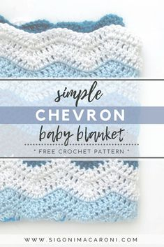 Easy Crochet Afghans The Simple Chevron Baby Blanket crochet pattern is quick, super simple, and free! A perfect last minute baby shower gift that is also easy to customize! Simple Chevron Baby Blanket Crochet Pattern via Sigoni Macaroni Chevrons Au Crochet, Crochet Motifs, Crochet Afghans, Baby Blankets To Crochet, Crotchet Baby Blanket, Chevron Afghan, Crochet Stitches, Crochet Baby Blanket Free Pattern, Crochet Baby Blanket Beginner