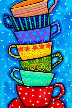 Cuadros Teacups Colour Folkart Print Shelagh Duffett by AliceinParis on Etsy Photos in the Drawer Photos taken on special occasions will disappear aft. Art Drawings For Kids, Art For Kids, Pop Art, Art Du Collage, Art Fantaisiste, Art Populaire, Whimsical Art, Art Lessons, Tea Cups