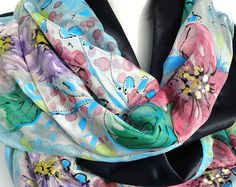 Hand Painted Silk Scarf. Gold Luxury Heavy Shawl. by TeresaMare