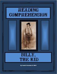Billy the Kid- History and Language Arts  combined!  Contains: two 1-page passages of informational text on Billy the Kid; two pages of reading comprehension questions (one for each passage), and teacher's key.     CAN BE USED FOR A QUICK SAMPLE FOR CHARTER SCHOOLS, Independent Reading, Homework or Supplemental Homeschool Worksheet.  The passages can be used for CLOSE READING with other non-fiction graphic organizers!    6 pages $1.00 Grades 4-6 and homeschool