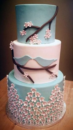 Blue Love Birds  Wedding Cake