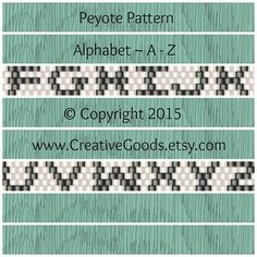 Alphabet Pattern in Odd Count Peyote Stitch by CreativeGoods