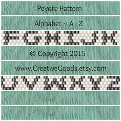 Alphabet Pattern in Odd Count Peyote Stitch by CreativeGoods