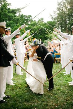 Pomp and ceremony... incorporate parts of your life into the ceremony, just as this military couple has done.