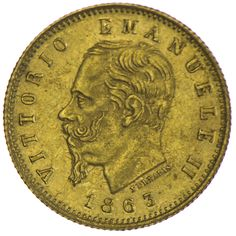 Vittorio Emanuele II. 1861 - 1878   5 Lire 1863 Gold