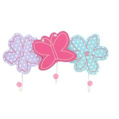 "This Flower & Butterfly Wall Hooks is beautiful and functional and will accent a little girl's room perfectly.    	It measures approximately 19"" wide x 10 1/2"" tall x 2 1/2"" deep and has mounting hardware attached the back for easy hanging."