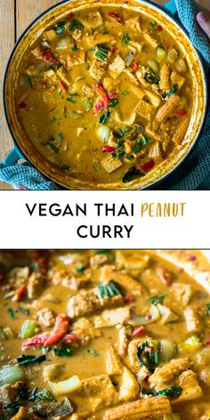 Vegan Thai Peanut Curry - Six Hungry Feet - Recipes Best Vegan Recipes, Milk Recipes, Curry Recipes, Kitchen Recipes, Veggie Recipes, Indian Food Recipes, Asian Recipes, Vegetarian Recipes, Healthy Recipes